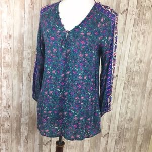 Lucky Brand Blue Purple Floral Boho Blouse